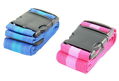 Koffergurt blau/pink Länge 1,8m Kofferband Gepäckband Luggage Belt Kofferbänder