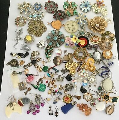 Huge Job Lot Vintage Jewellery Odd Earrings And Brooches Over 80 Pieces
