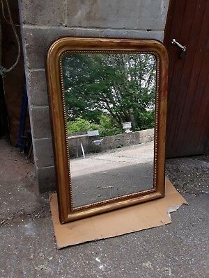 Antique French Mirror.  large.gold.- well worn patina