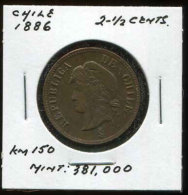 ** Chile 1886 , 2-1/2 Cents.....scarce , Low Minted 381 K.**