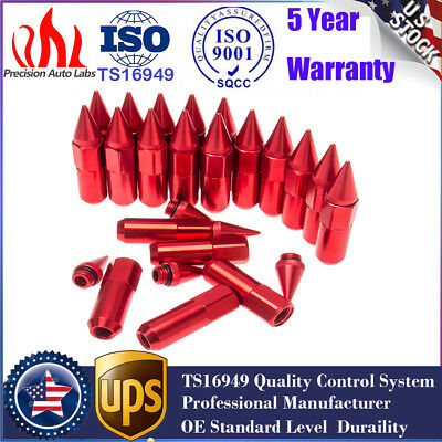 New 20X M12X1.5 Red Cap Spiked Extended Tuner 60mm Aluminum Wheels Rims Lug Nuts