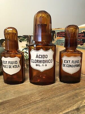 Set Of 3 Antique Amber Apothecary Bottles