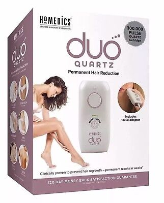 HoMedics Duo Quartz IPL Hair Remover, Fast and Pain-Free Treatments for Facial,