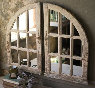Arched Window Pane Mirror Rustic Distressed Antique Style Set of 2