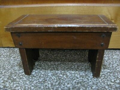 ANTIQUE CEDAR WOOD FOOT/BOOT STOOL w/CHILD'S NAME
