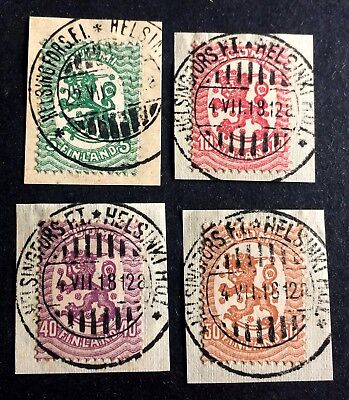 4 top old canceled stamps Finland 1918