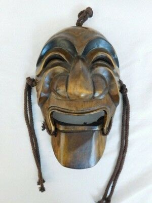 Japanese Carved Wood Mask Kabuki Theater Articulated Mouth