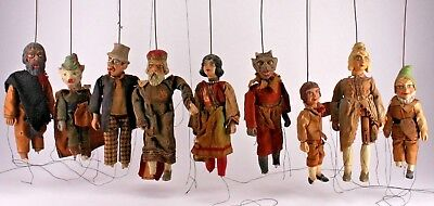 Antique 19Th C. Hand Crafted Ceramic Clay Marionette Puppet Set - Devil King Pig