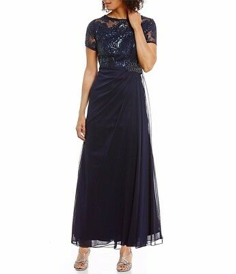 Alex Evenings Petite Embroidered Lace Gown Navy  NWT Retail $199