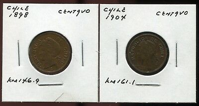 ** Chile 1898 & 1904 ...lot Of 2 Cents **