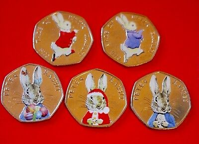 beatrix potter 50p peter rabbit 2016/2017 Coloured Set Circulated