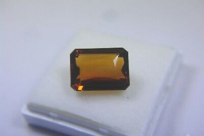 TOP 28,84 ct. Golden Orange Citrin-Smaragd-Scherenschliff-Facettiert-
