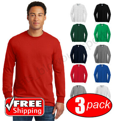 3-PACK Gildan Heavy Cotton Long Sleeve T Shirt Mens Blank Casual Plain Tee 5400