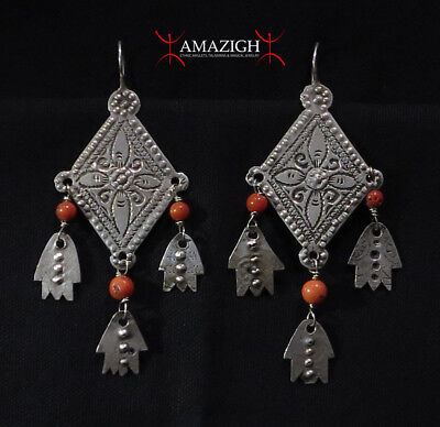 Old Berber Earrings - Hands of Fatima and Mediterranean Coral - Morocco