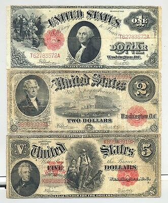nice lookng $5 1907 Woodchopper, $2 1917 and $1 1917 United States Notes