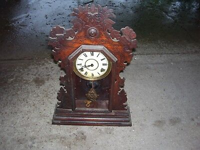 Antique Wooden Wall Hanging Ingraham Wind-up Clock With Chimes Made in Bristol,C