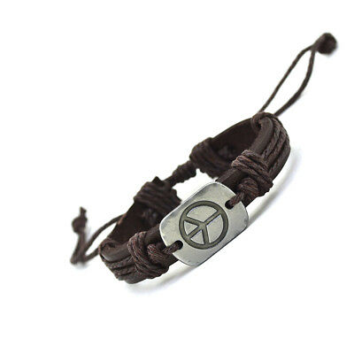 Mens Women Hot Peace Sign Genuine Leather Cuff Charms Leather Bracelet Bangle