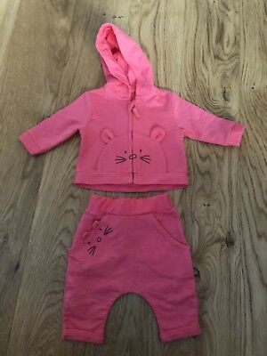 Mothercare Newborn Pink Cat Tracksuit. Immaculate 💕