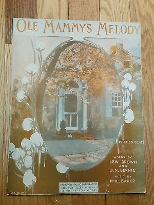 1919 Ole Mammys Melody Sheet Music - Black Americana - Lew Brown and Ben Bernie