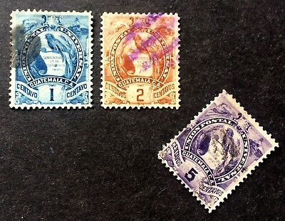 1886: 2 nice old used stamps Quetzal Guatemala