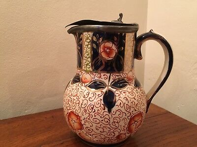 """Antique Gaudy Welsh Pottery Water Jug with Pewter Lid - Imari pattern 7"""" tall"""