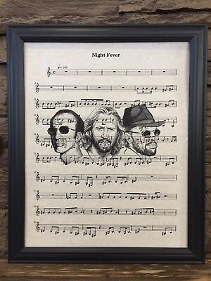 Night Fever by The Bee Gees Music Sheet Art Print Home Office Decor