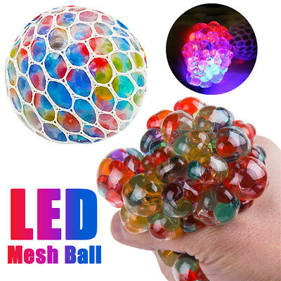 Multicolor Mesh Stress LED Glowing Squeeze Grape Toys Anxiety Relief Stress Ball