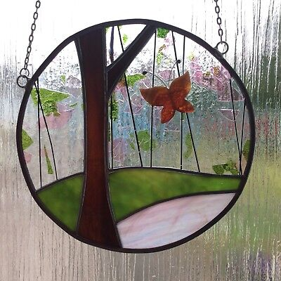 Stained Glass Summery Butterfly Panel