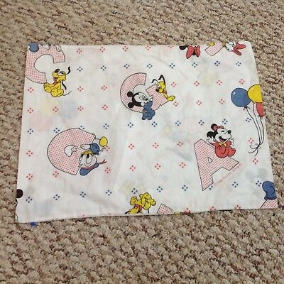 Vintage 1984 80s Mickey Mouse Disney Print Baby Nursery Pillowcase Linens