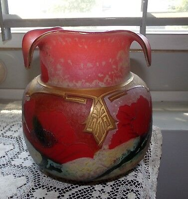 Legras Indiana vase Cameo Glass Art Nouveau 1900's gold gilt Red Poppies