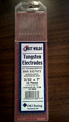 """1 Box of 10 TIG Welding Tungsten Electrodes 2% Thoriated 3/32 x 7""""  (Red)"""