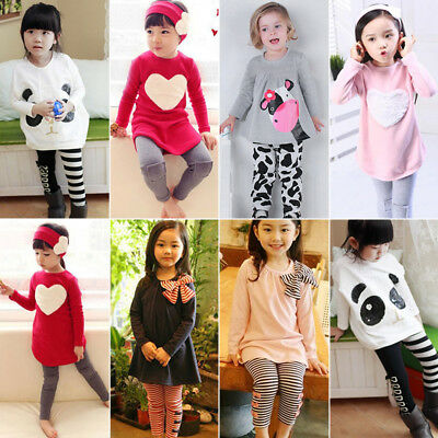 Toddler Kids Girls Tracksuit Sweatshirt Tops + Jogging Pants Outfits Clothes Set