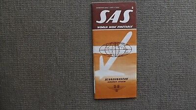 SAS Scandinavian Airlines Aug 1- Nov 1 , 1959 World Wide  Timetable New