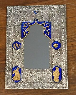 PERSIAN STERLING SILVER MIRROR, Middle Eastern, Embossed, 950 silver,Blue,gold