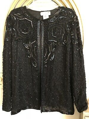 Black papell boutique beaded evening jacket
