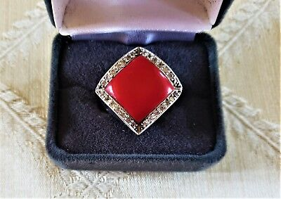 Vintage 925 Sterling Silver Ring w/ Red Accent Size 10.5 * Vintage Silver Ring
