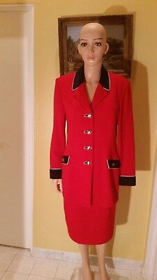 St. John Collection By Marie Gray Santana Knit Red Skirt Suit ,size 10/12
