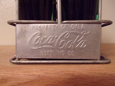Metal Coca Cola 6 Pack Carrier with 6 Full Coca Cola  PATENT D_ 105529  Bottles