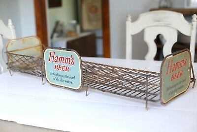 RARE 1950s Antique VTG HAMMS BEER Metal Shelf Rack Sign Bottle Store Display Old