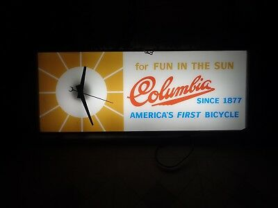 Vintage Clocks Columbia Bicycle Clock Light Lighted Wall Clocks