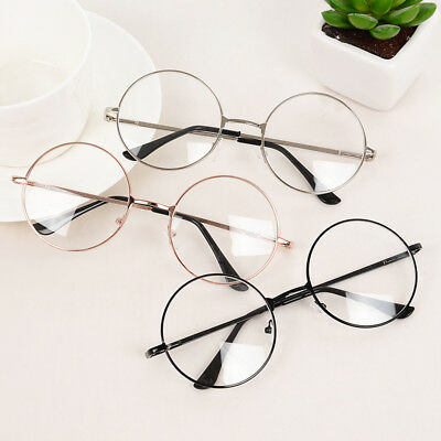 Women Men Large Metal Frame Clear Lens Round Circle Eye Glasses Nerd Vintage