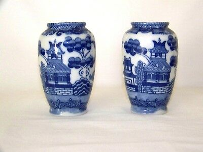 Blue Willow Made in Japan Pair of Lovely Small Matching Vases,Lovely Vintage!