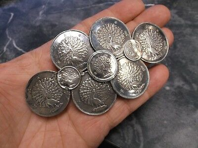 Burma Myanmar Kyat Rupee Peacock .917 Antique 1850s Silver Coins Belt Buckle 3oz