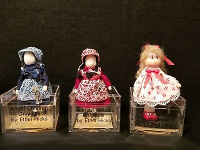 Dollhouse Miniatures Lot Of 3 Angel Children Artisan Ethel Hicks