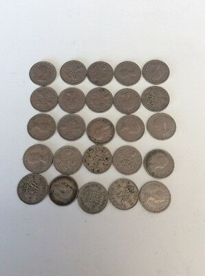 Lot Of 25 British Six Pence Coins For Weddings Free Shipping