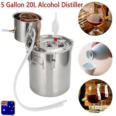 5 Gal Stainless Steel Alcohol Essential Oil Water Distiller Moonshine Still Kit