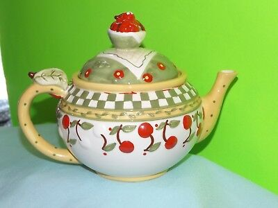 Vintage 1998 Mary Engelbreit Teapot RED CHERRIES JUBILEE Green White Checkered