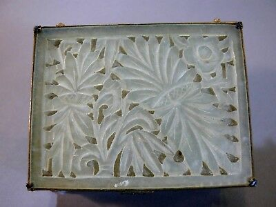 Vintage Chinese Carved Jade and Brass Dresser Box Sheet Sides Double Floral Top