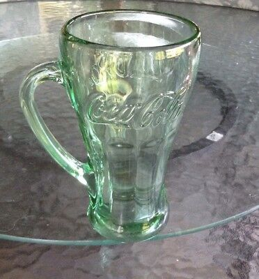 Vintage Libby COCA-COLA Heavy Green Fluted Glass Mug With Handle 16 Oz
