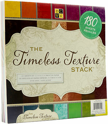 """DCWV Single-Sided Cardstock Stack 12""""X12"""" 180/Pkg-Timeless Textures, 60 Designs/"""